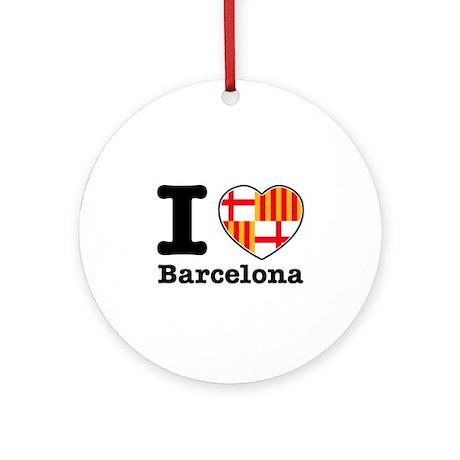 I love Barcelona Ornament (Round)
