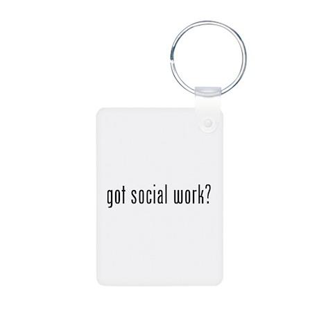 Got social work? Aluminum Photo Keychain