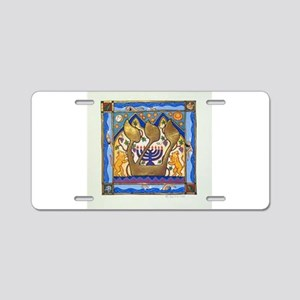 Hebrew Blue Shin Aluminum License Plate