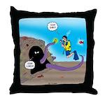 Octopus vs SCUBA Diver Throw Pillow