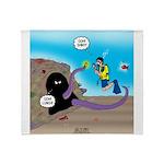 Octopus vs SCUBA Diver Throw Blanket