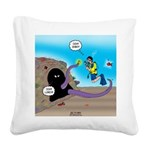 Octopus vs SCUBA Diver Square Canvas Pillow