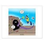 Octopus vs SCUBA Diver Small Poster