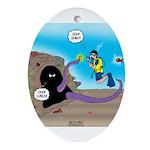 Octopus vs SCUBA Diver Oval Ornament