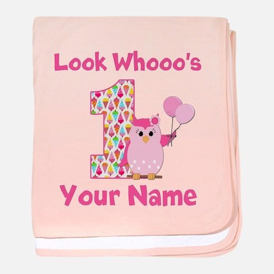 1st Birthday Girl Owl baby blanket