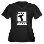 TITS Women's Plus Size V-Neck Dark T-Shirt