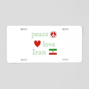 Peace, Love and Iran Aluminum License Plate