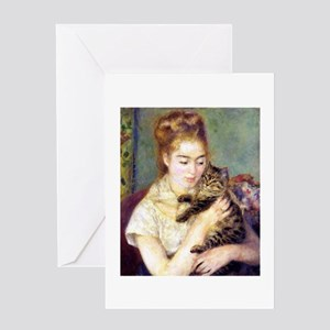 Lady w/ Cat, Renoir Greeting Card