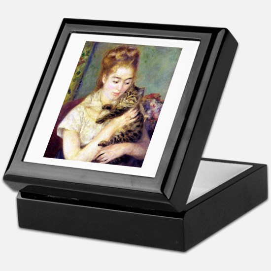 Lady w/ Cat, Renoir Keepsake Box