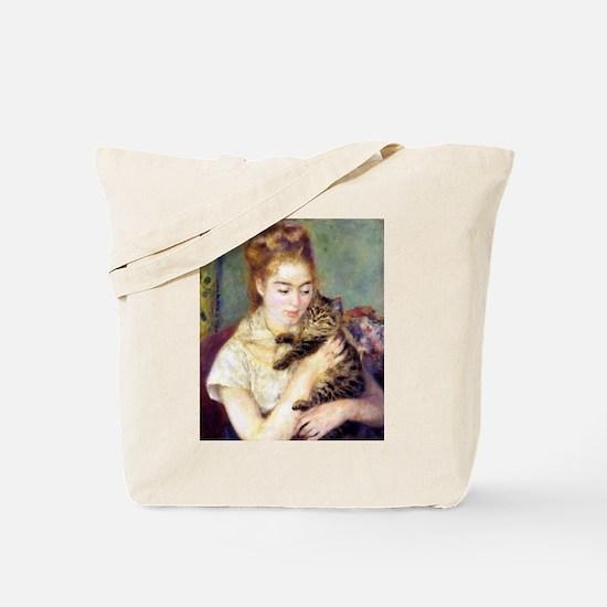 Lady w/ Cat, Renoir Tote Bag