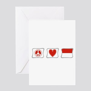 Peace, Love and Indonesia Greeting Card
