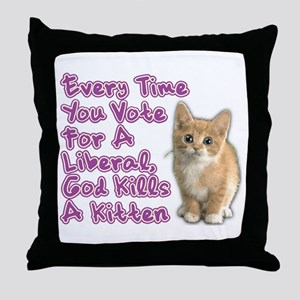 God Kills A Kitten Throw Pillow