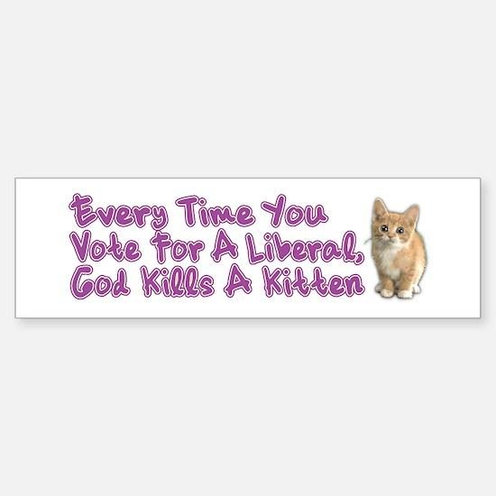 God Kills A Kitten Sticker (Bumper)