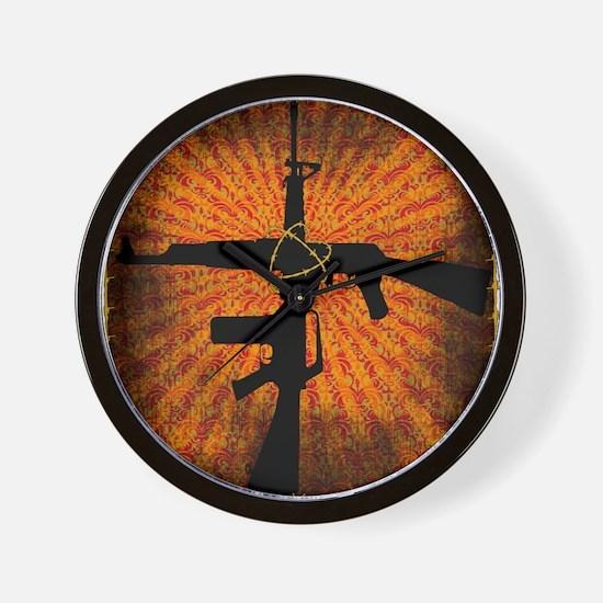 Crossed Guns Wall Clock