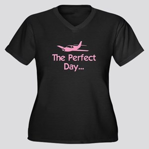 Perfect Day Airplane Women's Plus Size V-Neck Dark