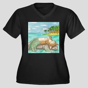 Sunbathing Women's Plus Size V-Neck Dark T-Shirt