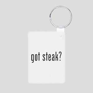 Got steak? Aluminum Photo Keychain