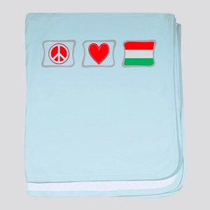Peace, Love and Hungary baby blanket