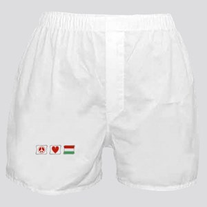 Peace, Love and Hungary Boxer Shorts