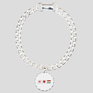 Peace, Love and Hungary Charm Bracelet, One Charm