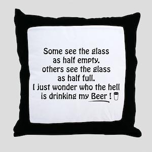 Half Full Half Empty Beer Throw Pillow