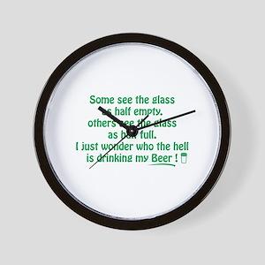Half Full Half Empty Beer Wall Clock