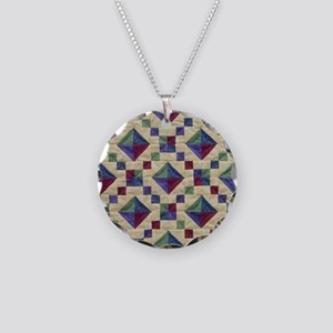 Jewel Box Quilt Necklace Circle Charm