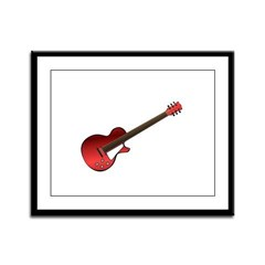 Red Electric Guitar Framed Panel Print