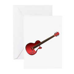 Red Electric Guitar Greeting Cards (Pk of 10)