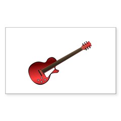 Red Electric Guitar Sticker (Rectangle)