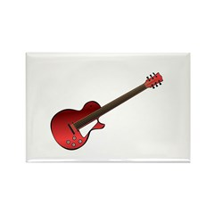 Red Electric Guitar Rectangle Magnet