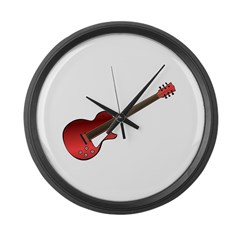 Red Electric Guitar Large Wall Clock
