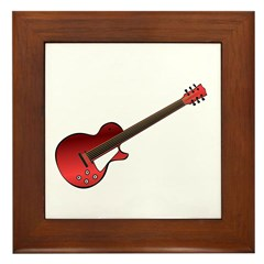 Red Electric Guitar Framed Tile