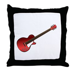 Red Electric Guitar Throw Pillow