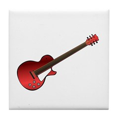 Red Electric Guitar Tile Coaster