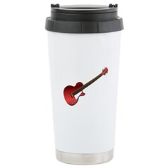 Red Electric Guitar Stainless Steel Travel Mug