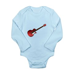 Red Electric Guitar Long Sleeve Infant Bodysuit