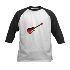 Red Electric Guitar Kids Baseball Jersey