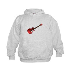 Red Electric Guitar Kids Hoodie
