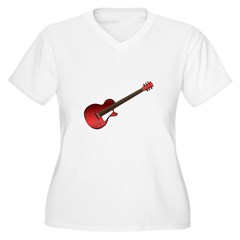 Red Electric Guitar Women's Plus Size V-Neck T-Shi