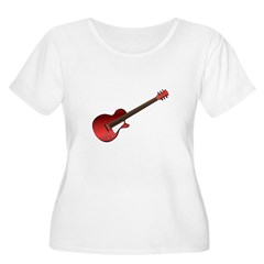 Red Electric Guitar Women's Plus Size Scoop Neck T