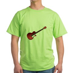 Red Electric Guitar Green T-Shirt