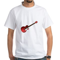 Red Electric Guitar White T-Shirt