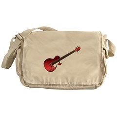 Red Electric Guitar Messenger Bag