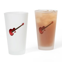 Red Electric Guitar Drinking Glass