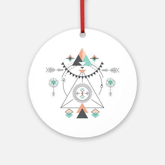 Cute Geometric Round Ornament