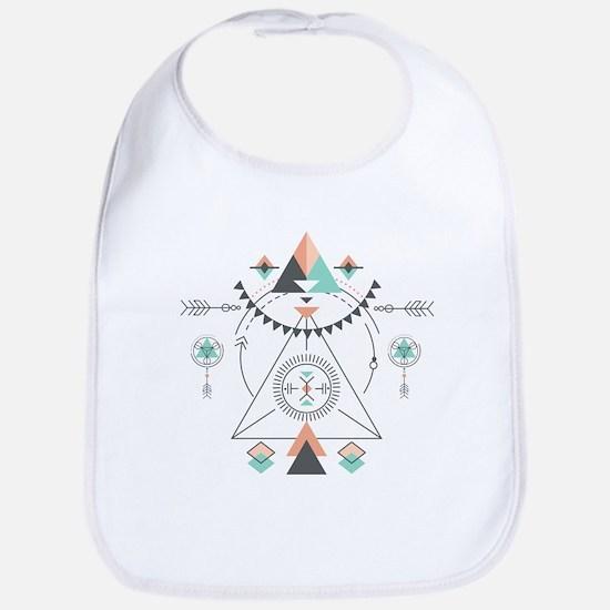 Modern Geometric Tribal Totem Design Baby Bib