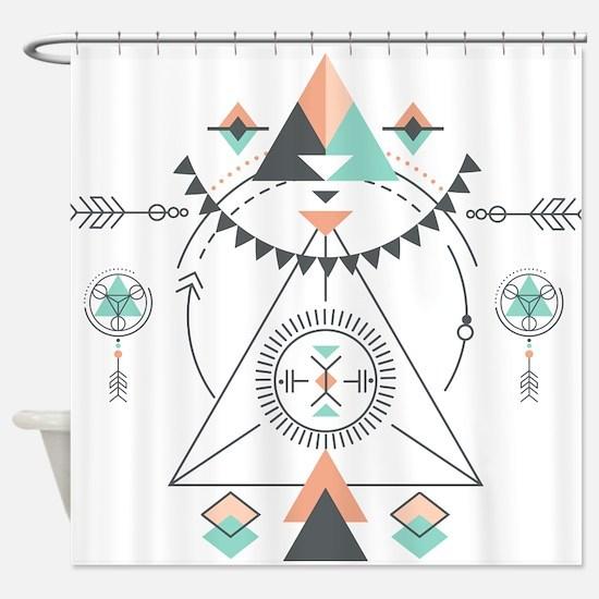 Modern Geometric Tribal Totem Desig Shower Curtain
