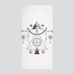 Modern Geometric Tribal Totem Design Beach Towel