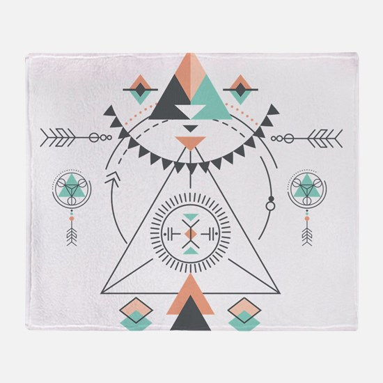 Modern Geometric Tribal Totem Design Throw Blanket